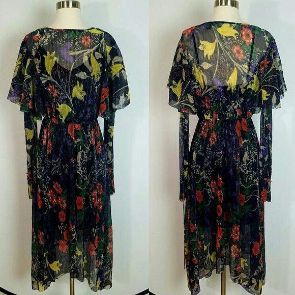 c25e96d9069 Zara Dresses | Shimmer Pleated Floral Asymmetrical Dress S | Poshmark